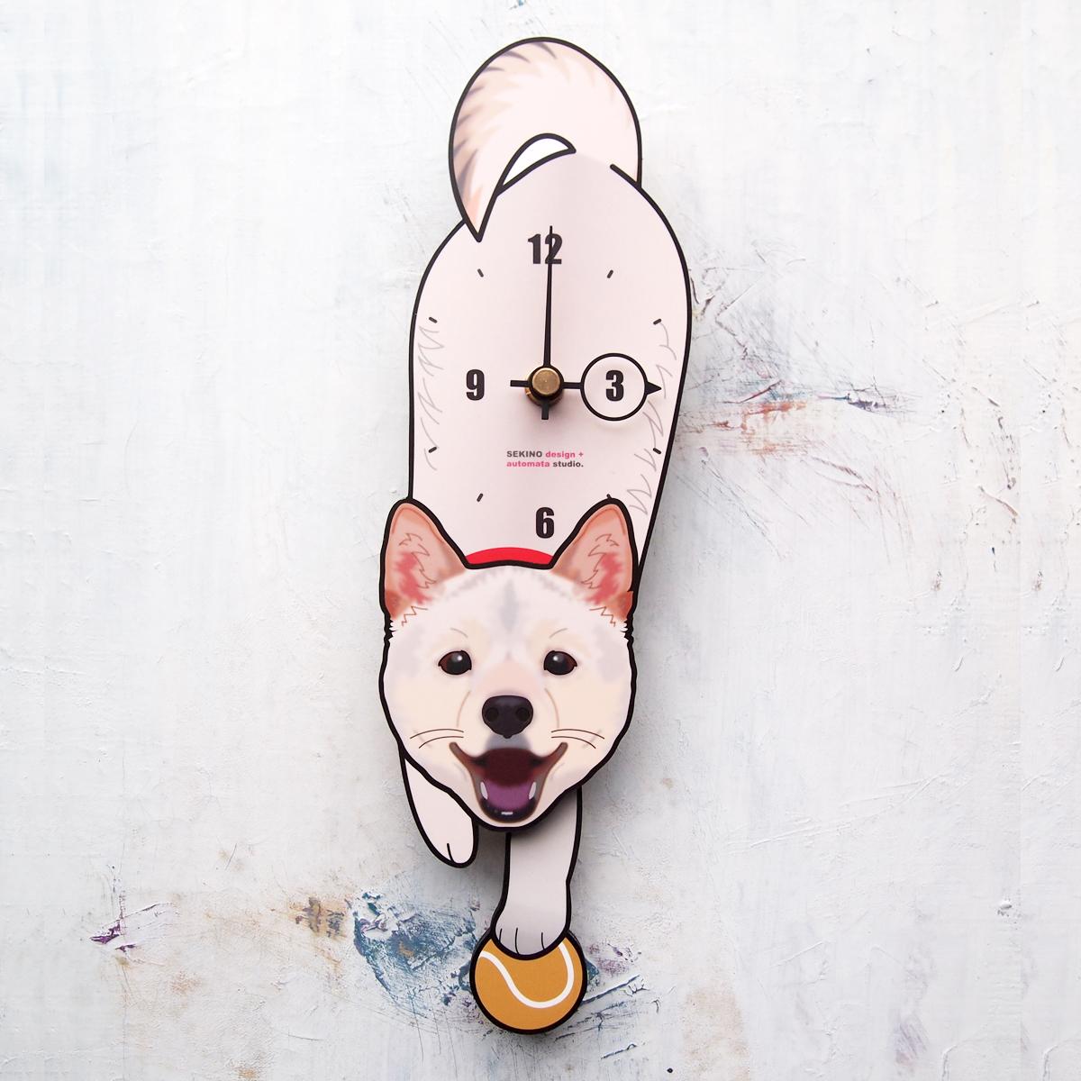 <D-180 白柴犬(口開)-犬の振り子時計>