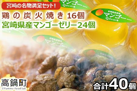 <宮崎の名物満足セット!宮崎県産マンゴーゼリー24個、鶏の炭火焼16個セット>翌月末迄に順次出荷【c725_ht】