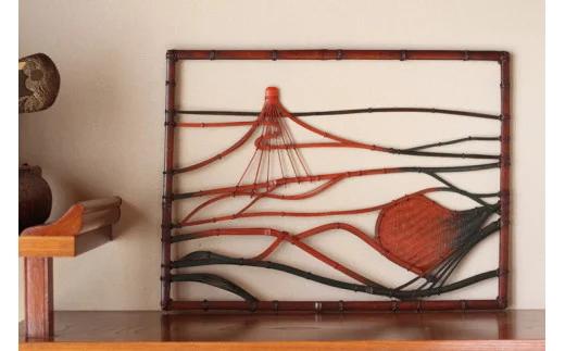 竹細工 壁掛けアート 磐梯山と猪苗代湖猪苗代湖