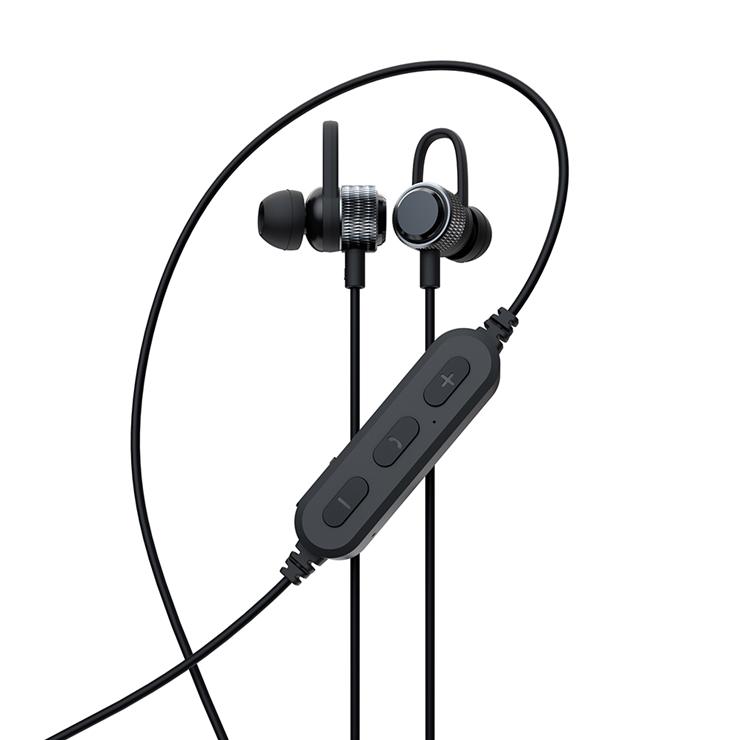 9-0098 やわらかフックで耳に固定 Bluetooth5 ワイヤレス ステレオイヤホン マグネット付 (ブラック) OWL-BTEP06S-BK
