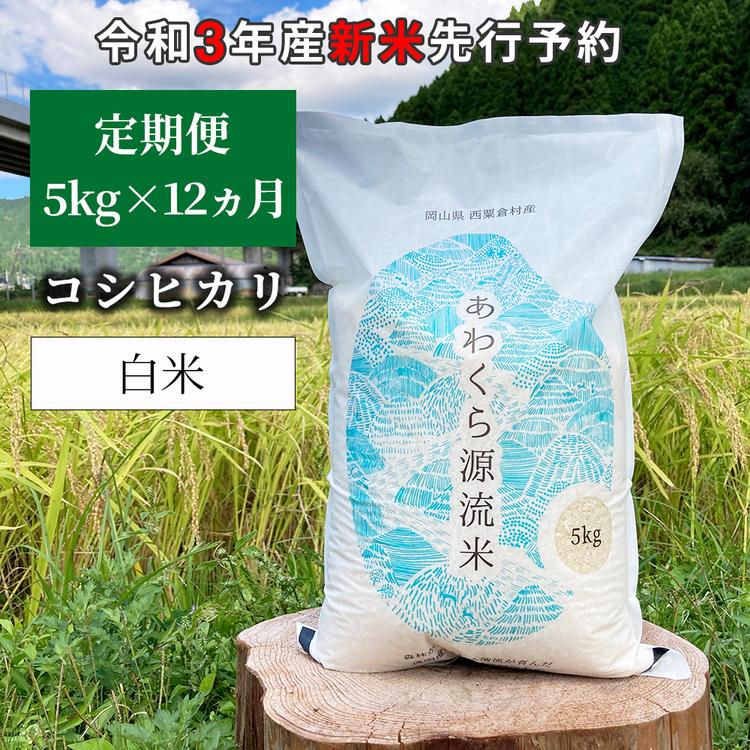W81<令和3年産 新米定期便予約> あわくら源流米 コシヒカリ 白米5kg×12