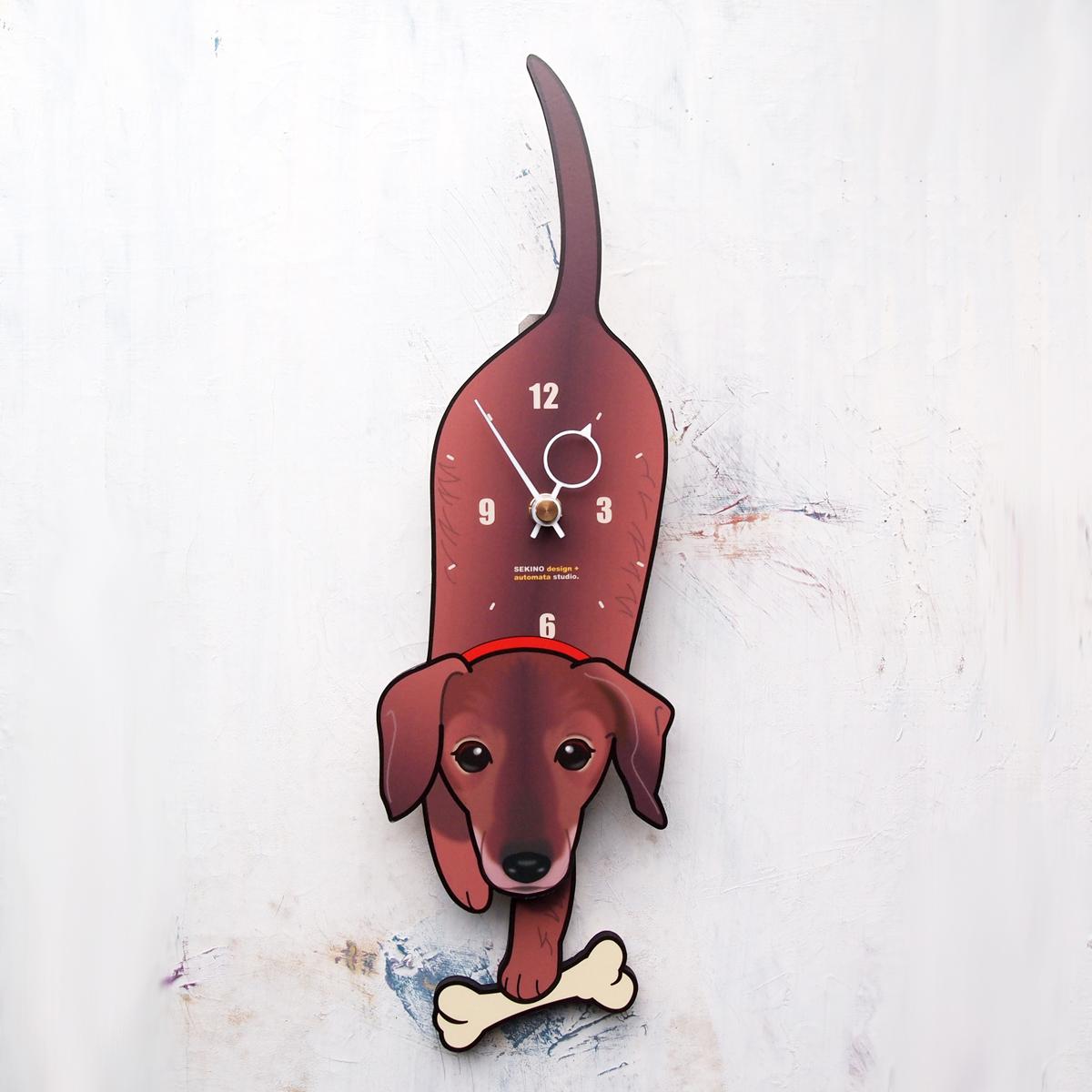 <D-44 スムースダックス-犬の振り子時計>
