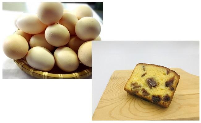 A4604ひまわりたまご紅白10個・パウンドケーキ(あんぽ柿)1本セット