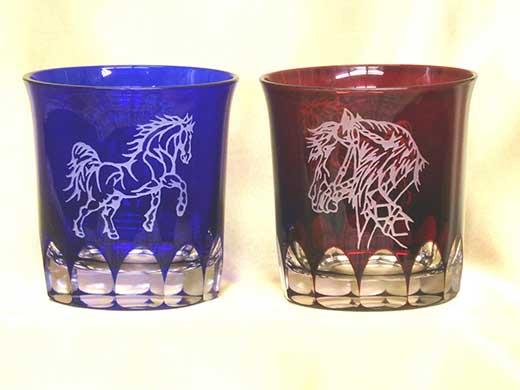 最高級ばん馬切子グラス瑠璃と赤の2色セット