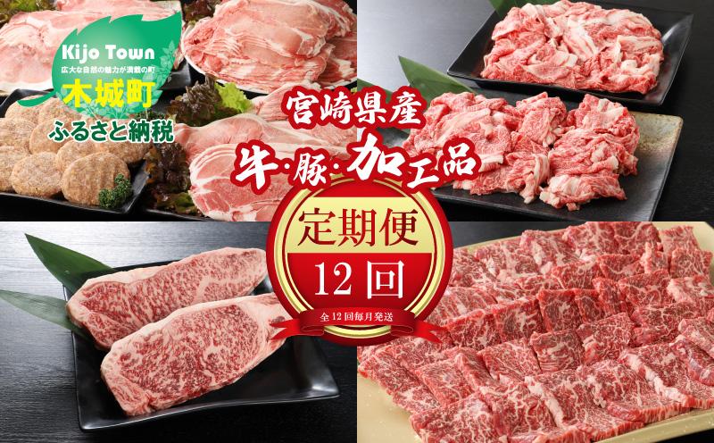 K16_0031_02<12か月定期便 宮崎県産 牛・豚・加工品定期便!>
