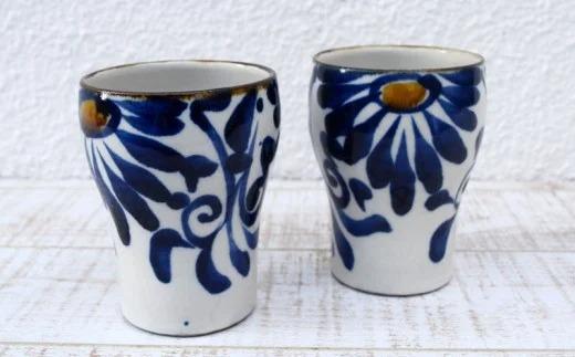 【やちむん市場】フリーカップ2個セット唐草紋コバルト