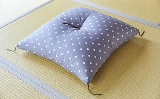 天然繊維 手作り 木綿わた入り 座布団(グレードット柄)