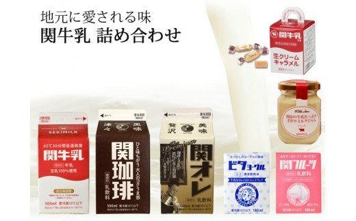 関牛乳チルドセット (牛乳・コーヒー・オレ・フルーツ・ビタヨーグルト・ミルクジャム・生クリームキャラメル) S7-12