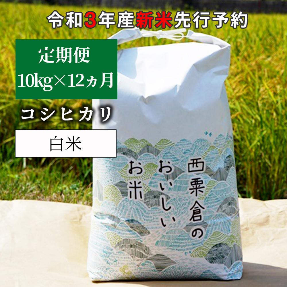 W85<令和3年産 新米定期便予約> あわくら源流米 コシヒカリ 白米10kg×12