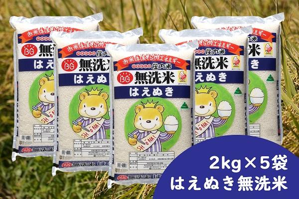 庄内産はえぬき 無洗米10kg(2kg×5袋)