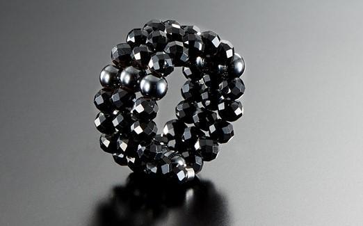 男の指輪「ブラックスピネル」3連スパイラルリンク゛・磁石付