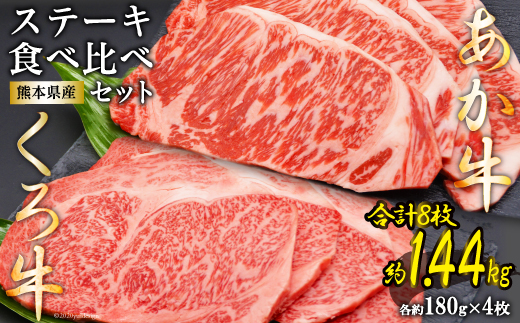 熊本県産あか牛くろ牛ステーキセット<ハローフーズ>【熊本県五木村】