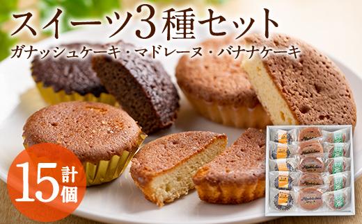 【10678】スイーツ3種 計15個セット!ガナッシュケーキ(5個)、マドレーヌ(5個)、バナナケーキ(5個)【吉川菓子店】