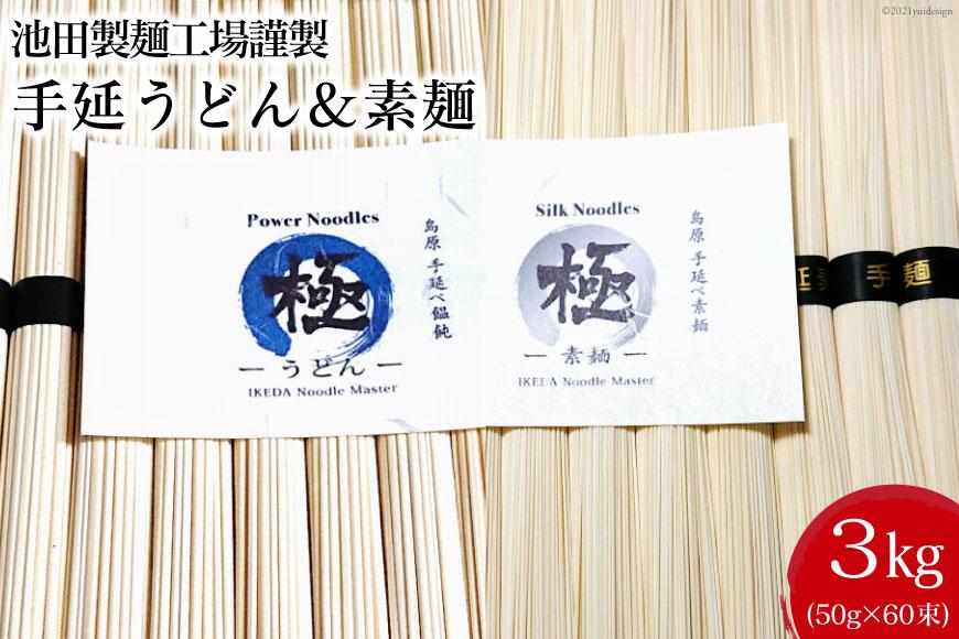 池田製麺工場 手延うどん&素麺 3kg(各50g×30束)