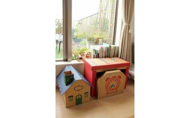 成長に合わせて使える段ボール家具 ジュニアデスクチェア&おうち型収納ボックス