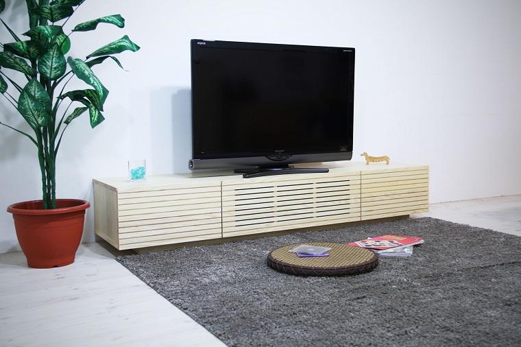 EL114_ 風雅  無垢材テレビボード  テレビ台  W1800【開梱設置付き】ホワイトアッシュ  スリット[SK114]