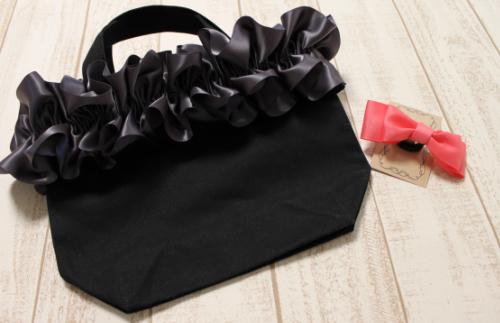 15-04 fluffy bag(チャコールグレー)&ヘアゴム(1個)セット