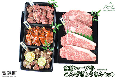 <宮崎ハーブ牛こんげぎょうさんセット1.7kg>翌月末迄に順次出荷【c006_fw】