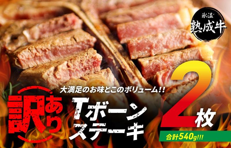 010B595 氷温(R)熟成牛 訳あり Tボーンステーキ2枚(合計540g)