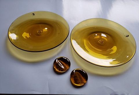 1108.川湯温泉ユノハナガラス 皿2枚+箸置き2個