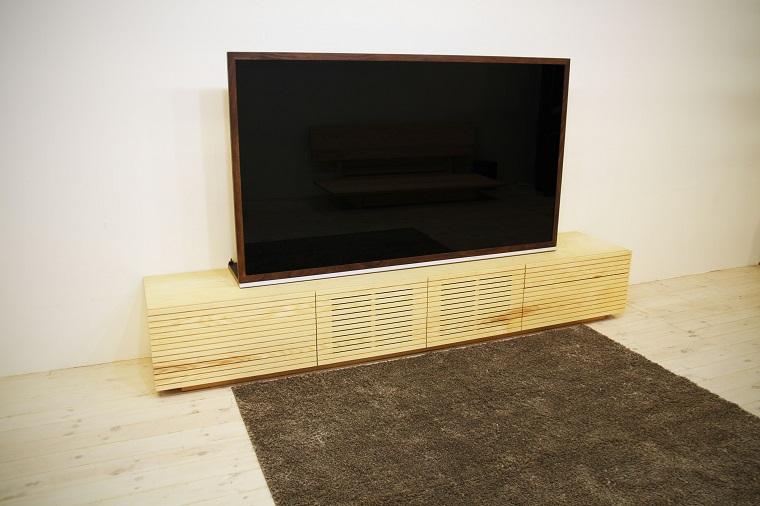 EL134_ 風雅  無垢材ハイタイプテレビボード  テレビ台  W2400【開梱設置付き】ホワイトアッシュ  スリット[SK134]