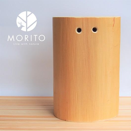 ②MORITOブランド 森の丸太スツール<ヒノキ持ち手付き/磨き丸太仕上げ> オットマン 椅子