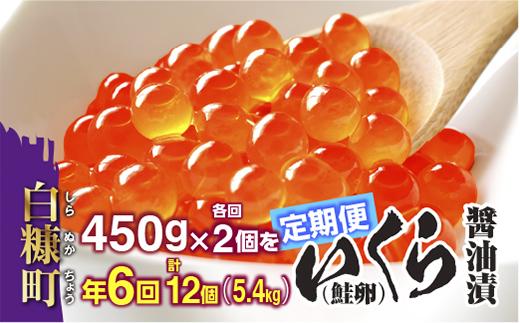 年6回(各回2個)!いくら醤油漬(鮭卵)定期便 【450g×2(225g×2×2)×6回(1月・3月・5月・7月・9月・11月)】