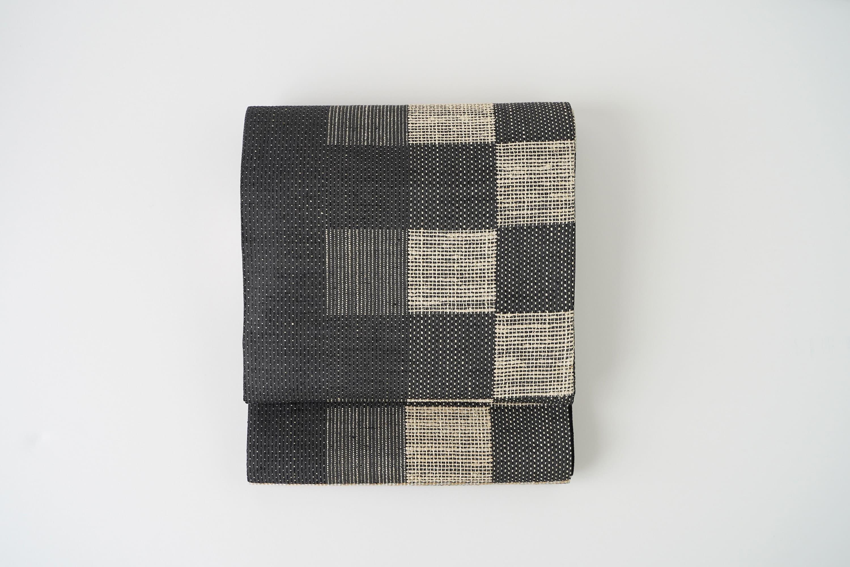 丹後の藤布 袋帯 「藤市松文」(黒)全通
