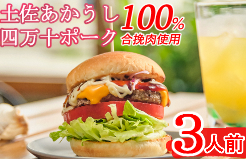 SD001土佐和牛&四万十ポーク合い挽きハンバーガーセット【3人前】