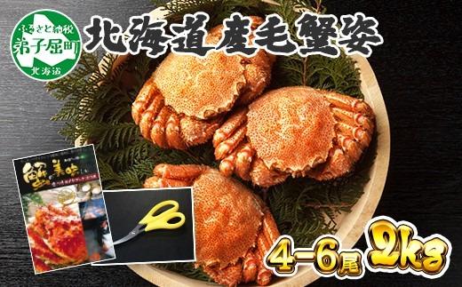 422.  毛蟹姿 4-6尾 計2kg 北海道産 食べ方ガイド付 カニ かに 特大 蟹肉 ボイル済み