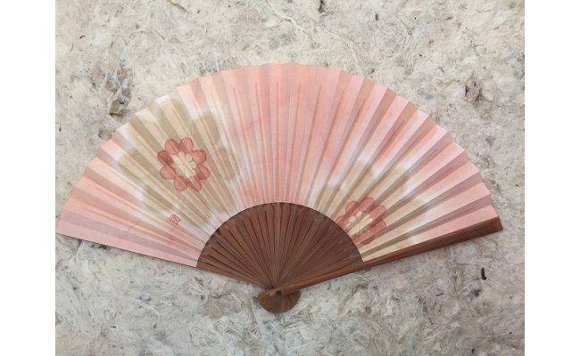 C1801草木染扇子6寸5分25間ピンク