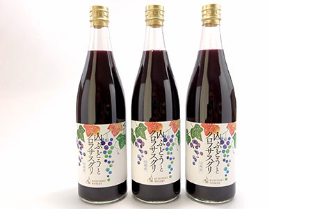 ≪ノンアルコール飲料≫山ブドウとクロフサスグリ(カシス)720ml×3本セット《楠わいなりー》
