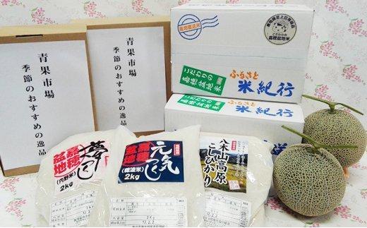 【N-005】【毎月お届け(12回)】嘉穂盆地米3点×2セット・マスクメロン・季節のおすすめ2品