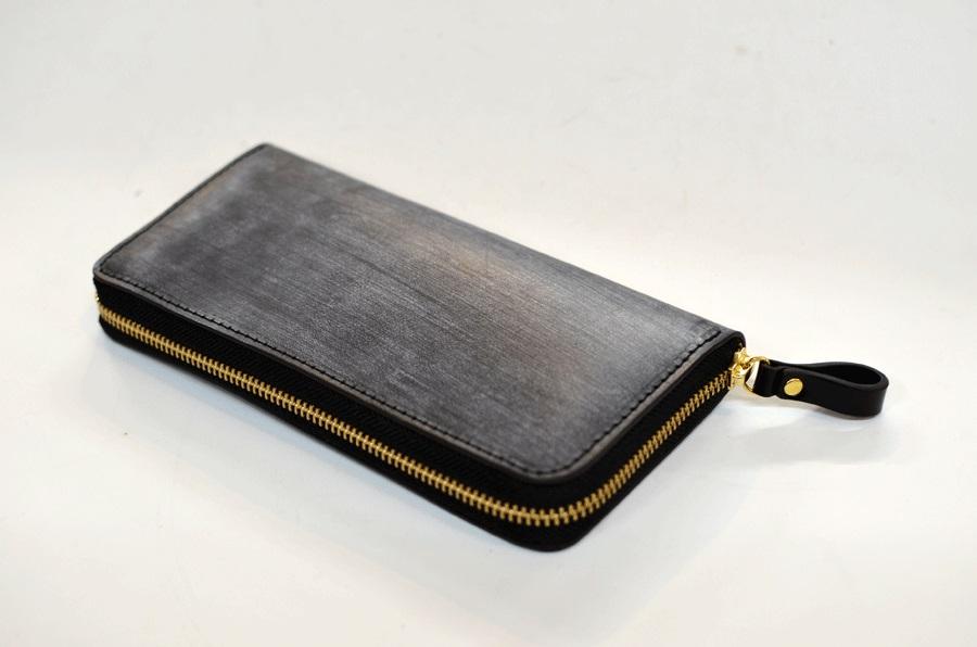 31-160-001.ブライドルレザー ラウンドファスナー長財布(黒)