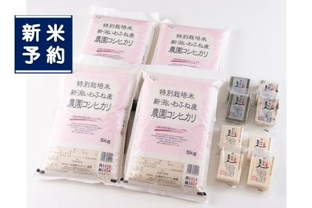 【新米受付】ND4019 特別栽培米岩船産コシヒカリ20kg・杵つき餅セット