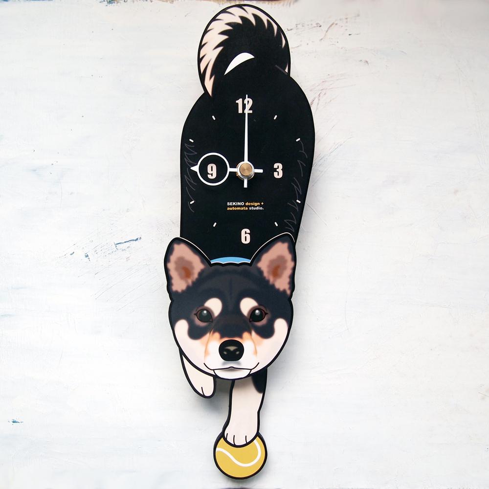 <D-001 黒柴-犬の振り子時計>