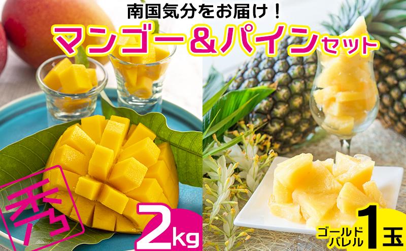 【2021年発送】南国気分をお届け!完熟マンゴー秀品2kg&ゴールドパイン1玉セット