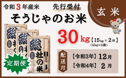 21-025-008.そうじゃのお米【玄米】30kg(15kg×2回)〔令和3年12月・令和4年2月配送〕
