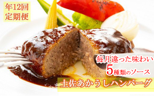 SB032【ホテルメイド】土佐あかうし100%ハンバーグステーキ自家製ソース(150g×2個)年12回お届け