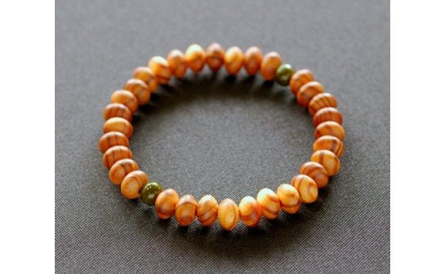 滋賀県伝統的工芸品認定の木珠 近江の数珠職人のブレスレット【F004SM】