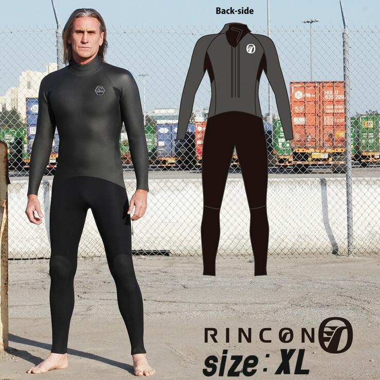 23-0026 ウエットスーツ RINCON 5/3mm起毛  BACK-ZIP フルスーツ WINTER仕様 XLサイズ