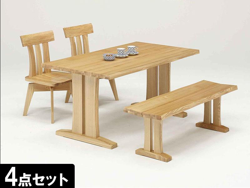 EO113_ 【開梱設置 完成品】ダイニングセット ダイニング4点セット 香月 テーブル幅150cm ライトブラウン ダイニングテーブル
