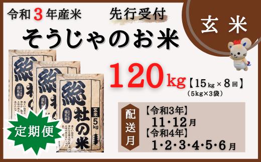 21-100-001.そうじゃのお米【玄米】120kg(15kg×8回)〔令和3年11月から令和4年6月まで毎月配送〕