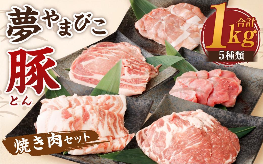 夢やまびこ豚 焼肉セット 1kg 5種類 (ロース・肩ロース・バラ・ヒレ・小間切れ)