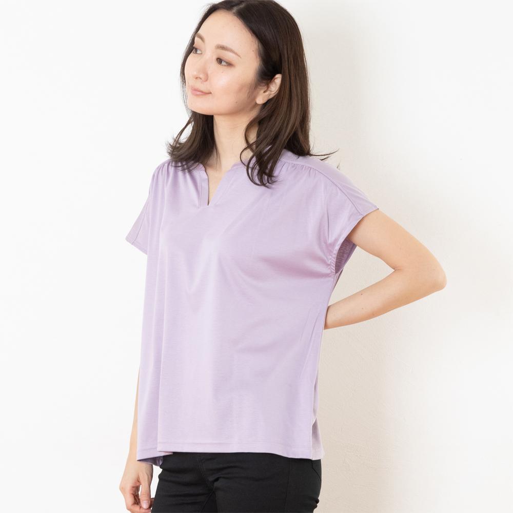 671 ドルマンスリーブシャツ 半袖カットソー  レディース(ラベンダー)