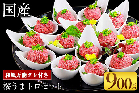 国産桜うまトロ 約900g 和風万能タレ 約60g×15個 馬肉 冷凍 《30日以内に順次出荷(土日祝を除く)》新鮮 スライス済 真空パック 生食用 肉