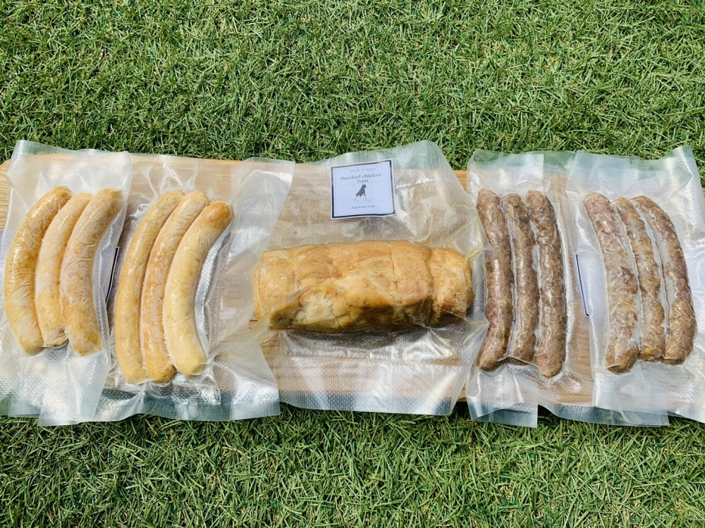 FB020_犬の無添加おかず☆燻製の香りがたまらないスモークチキン&いのししソーセージ&スモークチキンハム