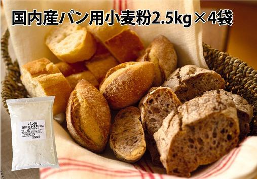【国内産100%】パン用小麦粉 10㎏(2.5㎏×4袋) 定期便12回 H008-055