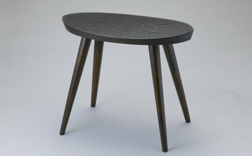 【L-587】木用美工房 タモ拭漆 木の葉スツール[高島屋選定品]