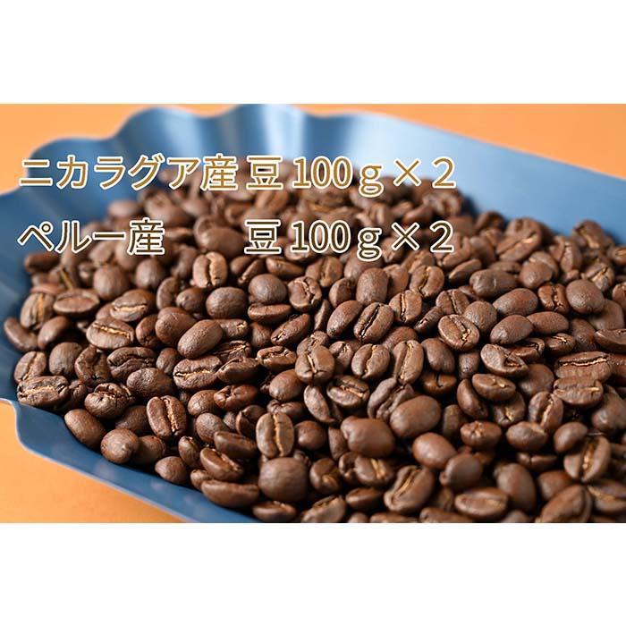 C-10 カフェ・フランドル厳選コーヒー豆 ニカラグア産(100g×2)ペルー産(100g×2)